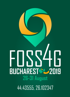 FOSS4G2019 vertical logo Bottle Green