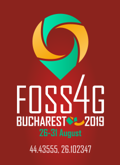 FOSS4G2019 vertical burgundy